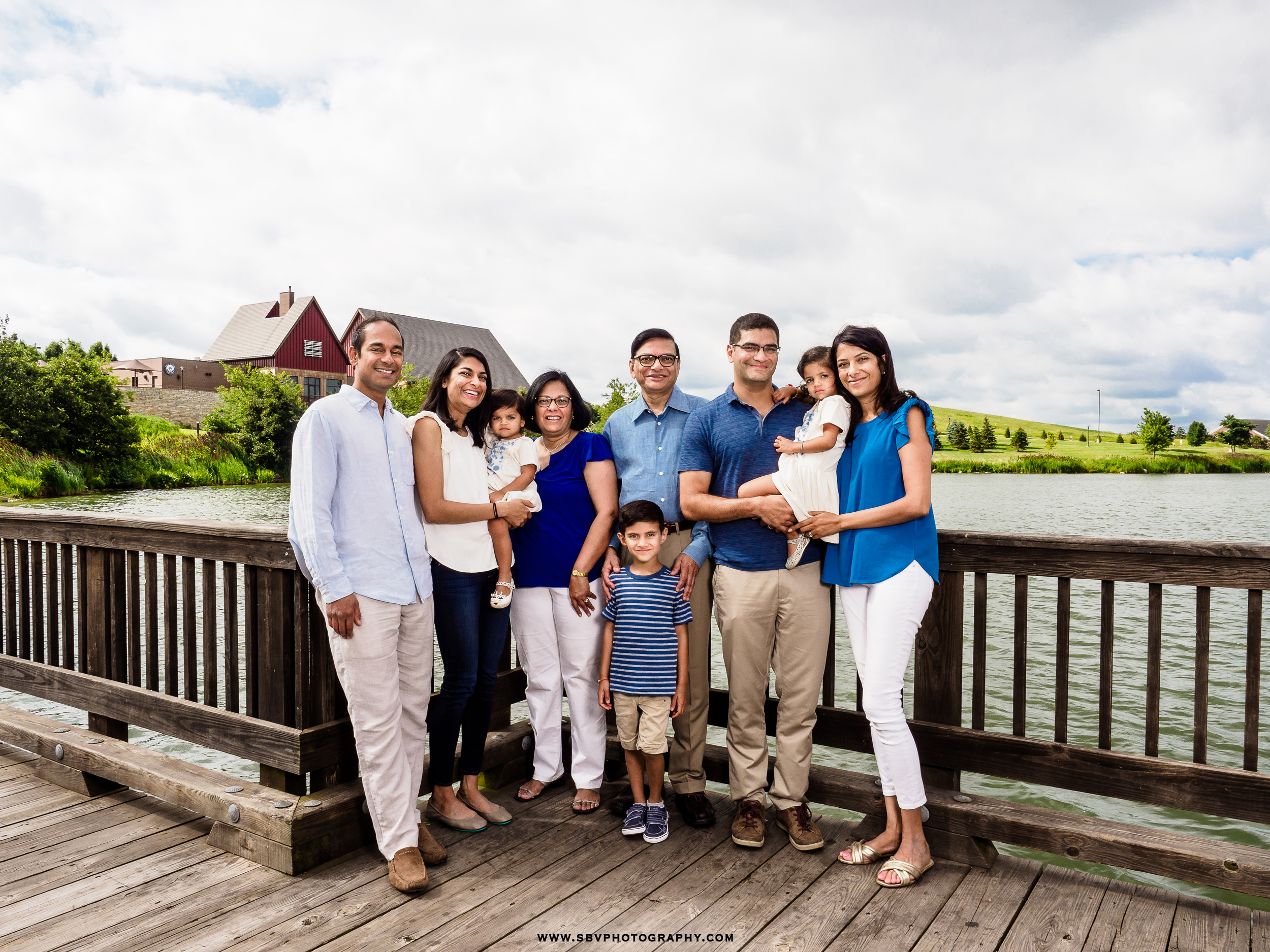 Family photo on the bridge at Centennial Park.