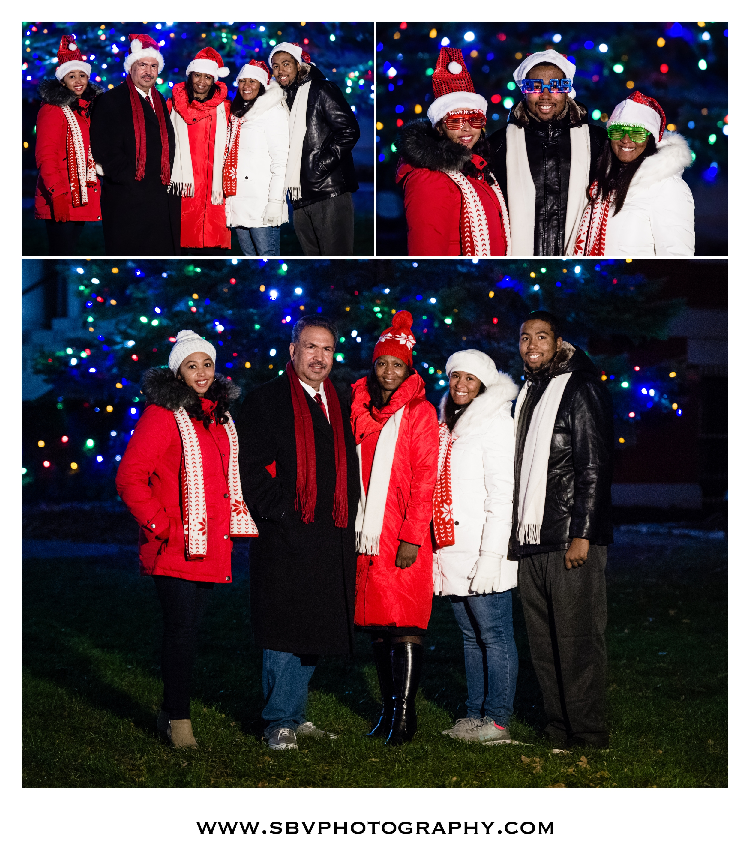 Outdoor family portraits in front of the Christmas tree.
