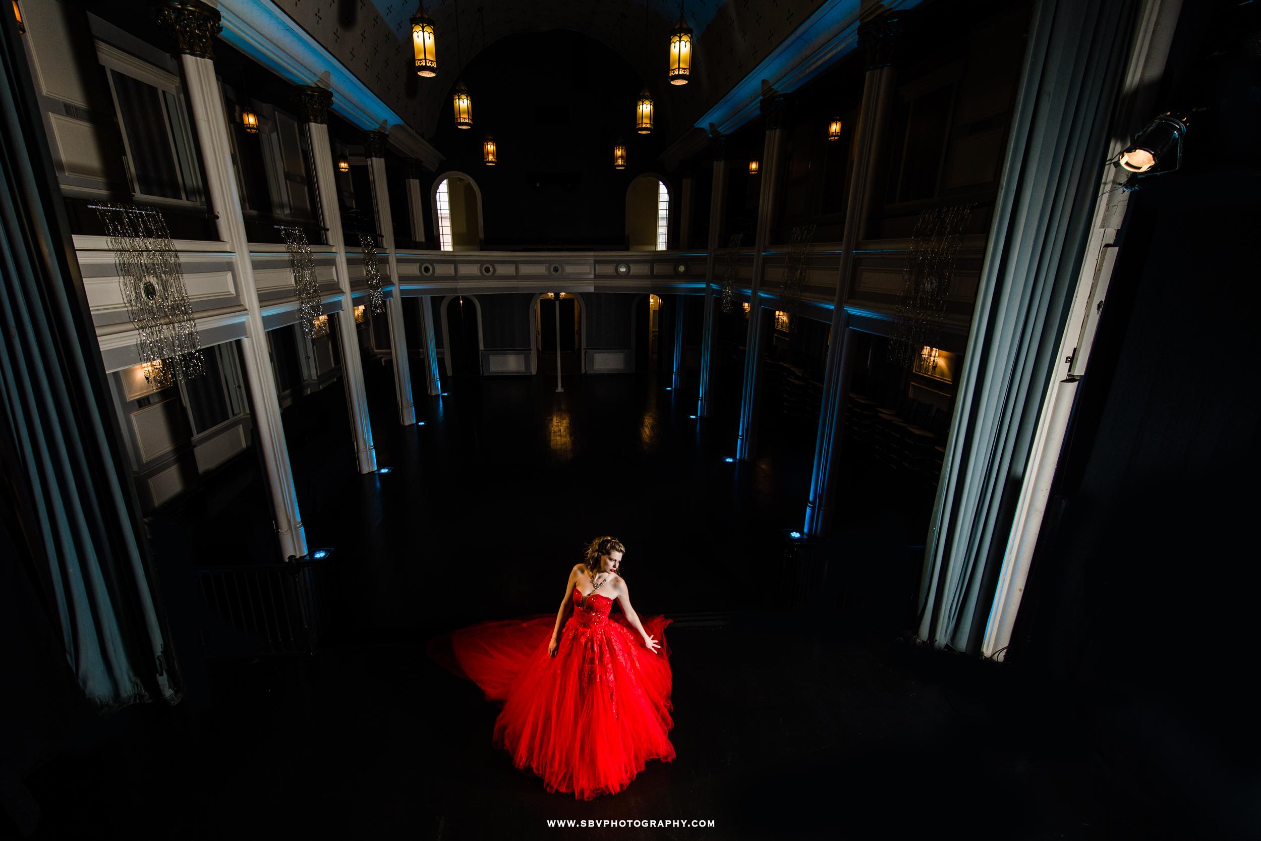 Fashion inspired ballroom dress photo shoot.