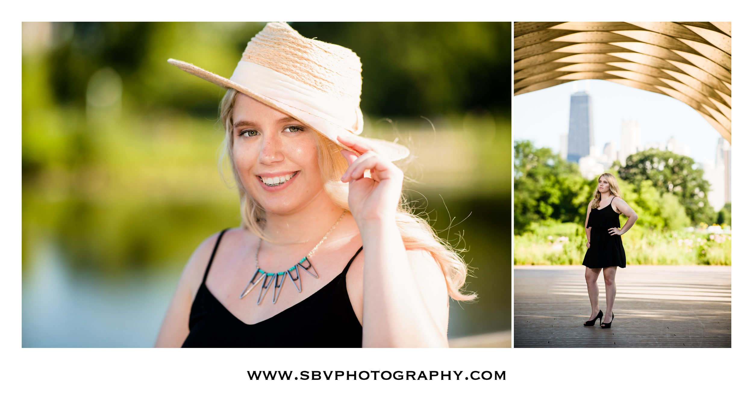 Senior photos near the honeycomb structure in Chicago's Lincoln Park Zoo area.