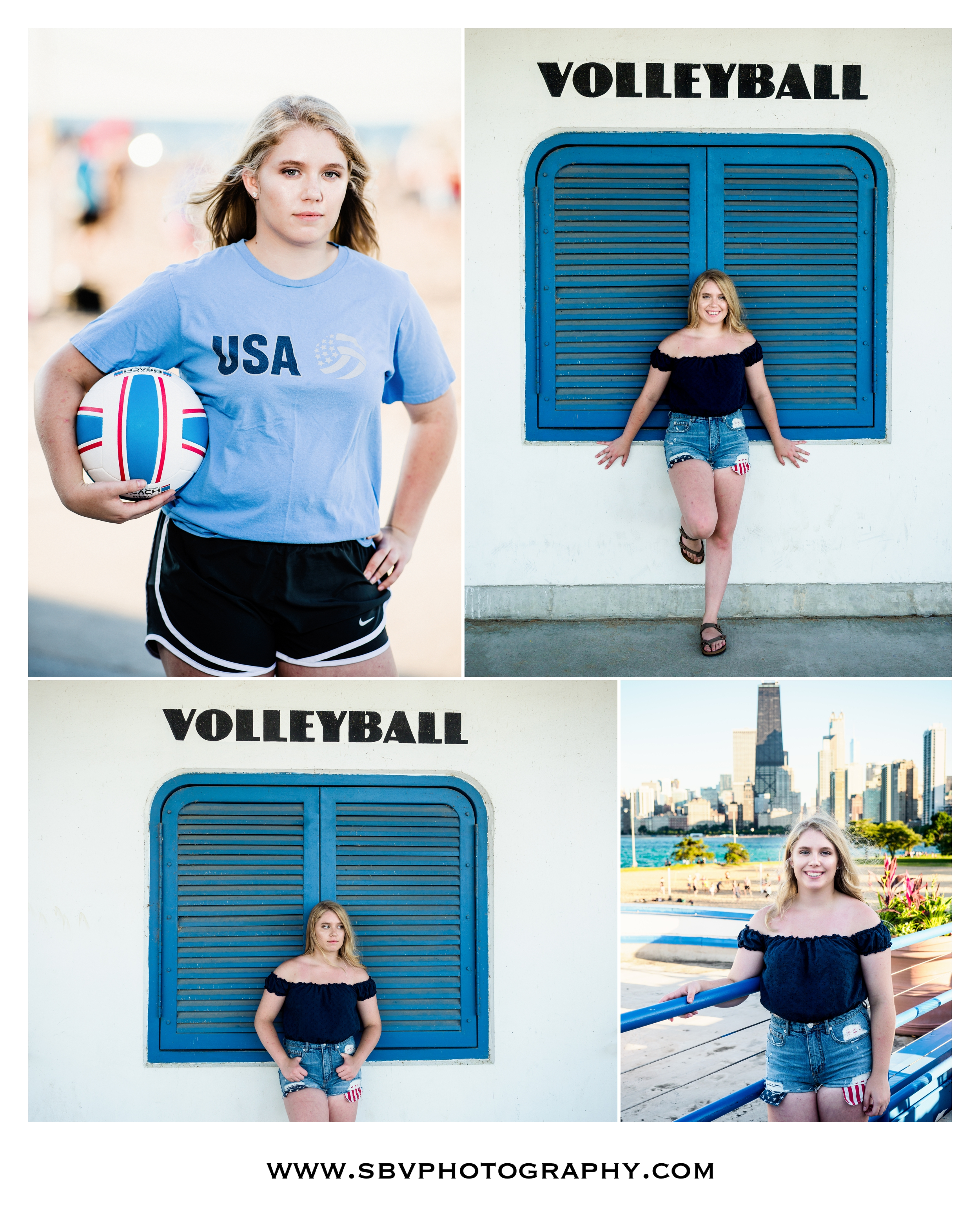 Volleyball themed senior photos at North Avenue Beach in Chicago.