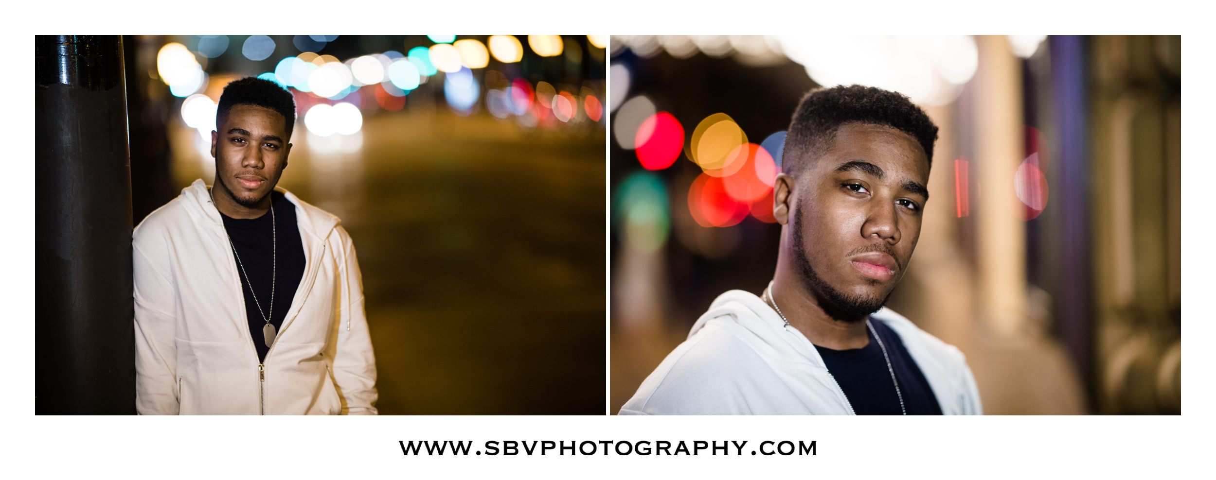 Senior pictures at night in downtown Chicago.