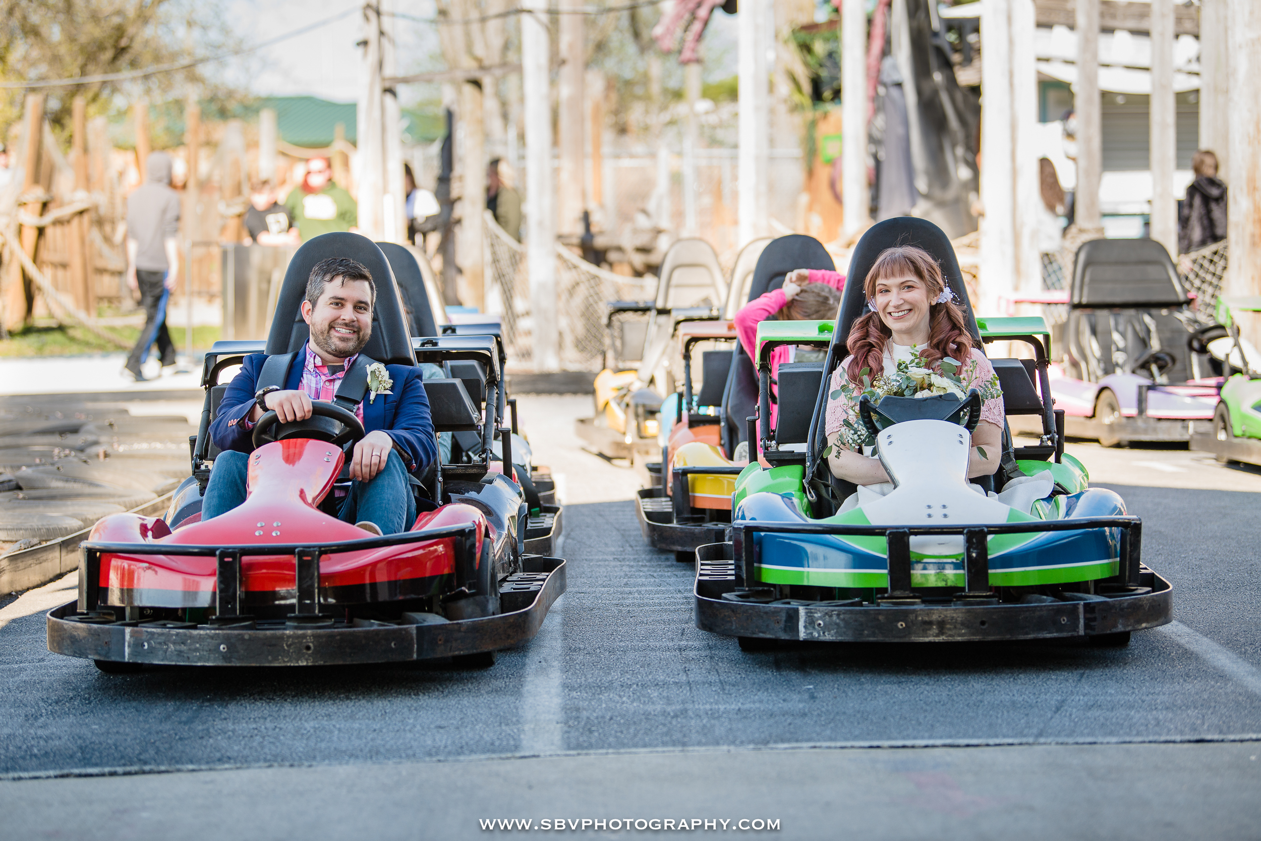 Fun photo on the go cart track at Zao Island