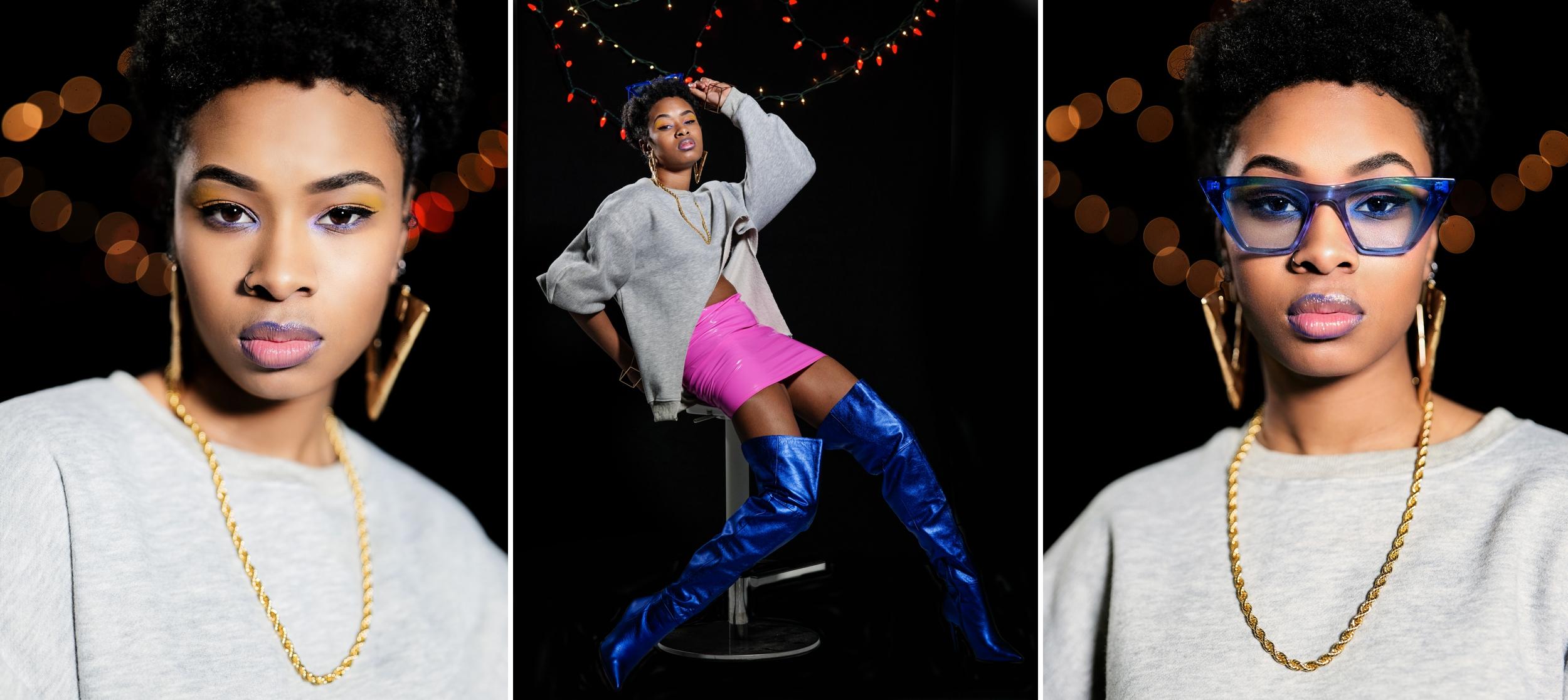 In studio portraits of a professional model.