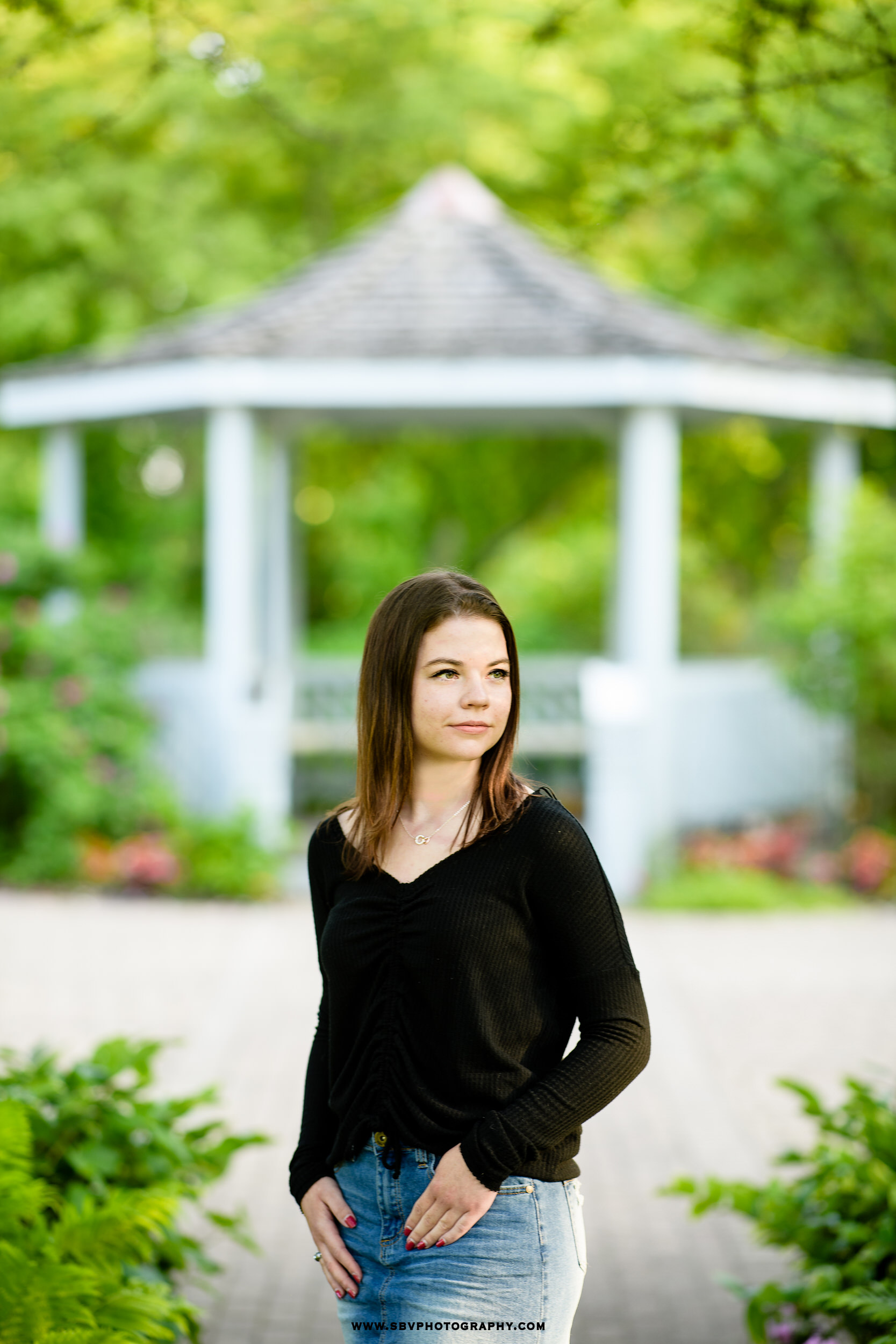 Senior girl Christina framed by the Ogden Garden gazebo.