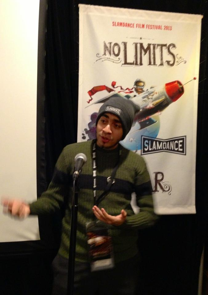 William D. Caballero giving a post Q&A after a screening SEED STORY at the 2013 SLAMDANCE FILM FESTIVAL.
