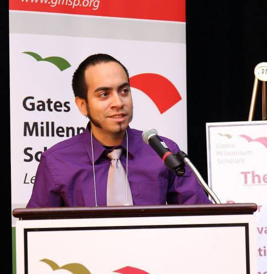 William D. Caballero speaking to a crowd of 500 Gates Millennium Scholars at the annual GMS Leadership Conference following his screening of American Dreams Deferred