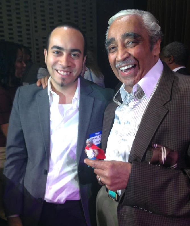 Caballero and Congressman Charles Rangel, after a screening of  Gran'pa Knows Best!