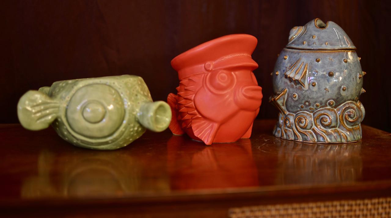 Fugu mugs from (left to right): Tiki tOny, Eekum Bookem, and Doug Horne.