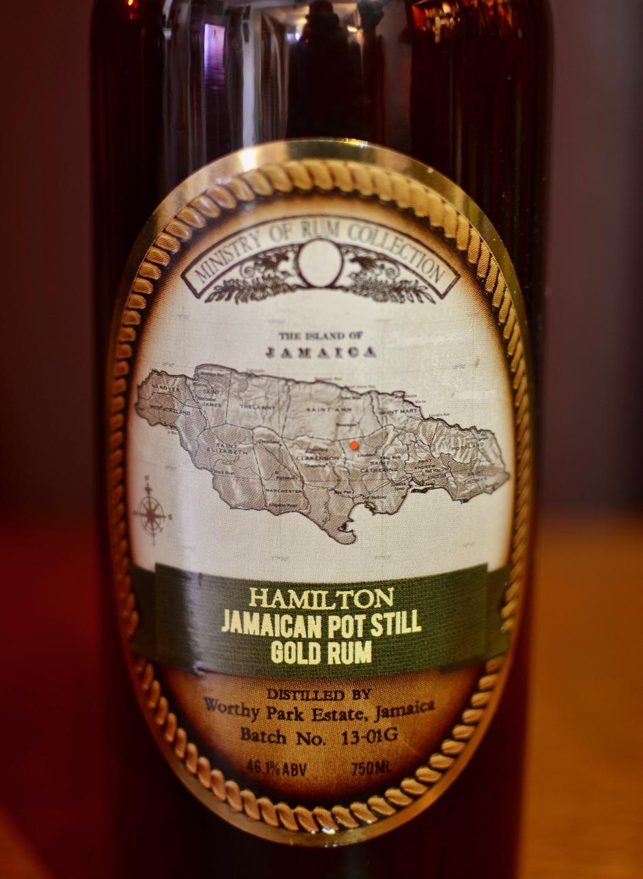 Previous label for Hamilton Jamaican Pot Still Gold rum.