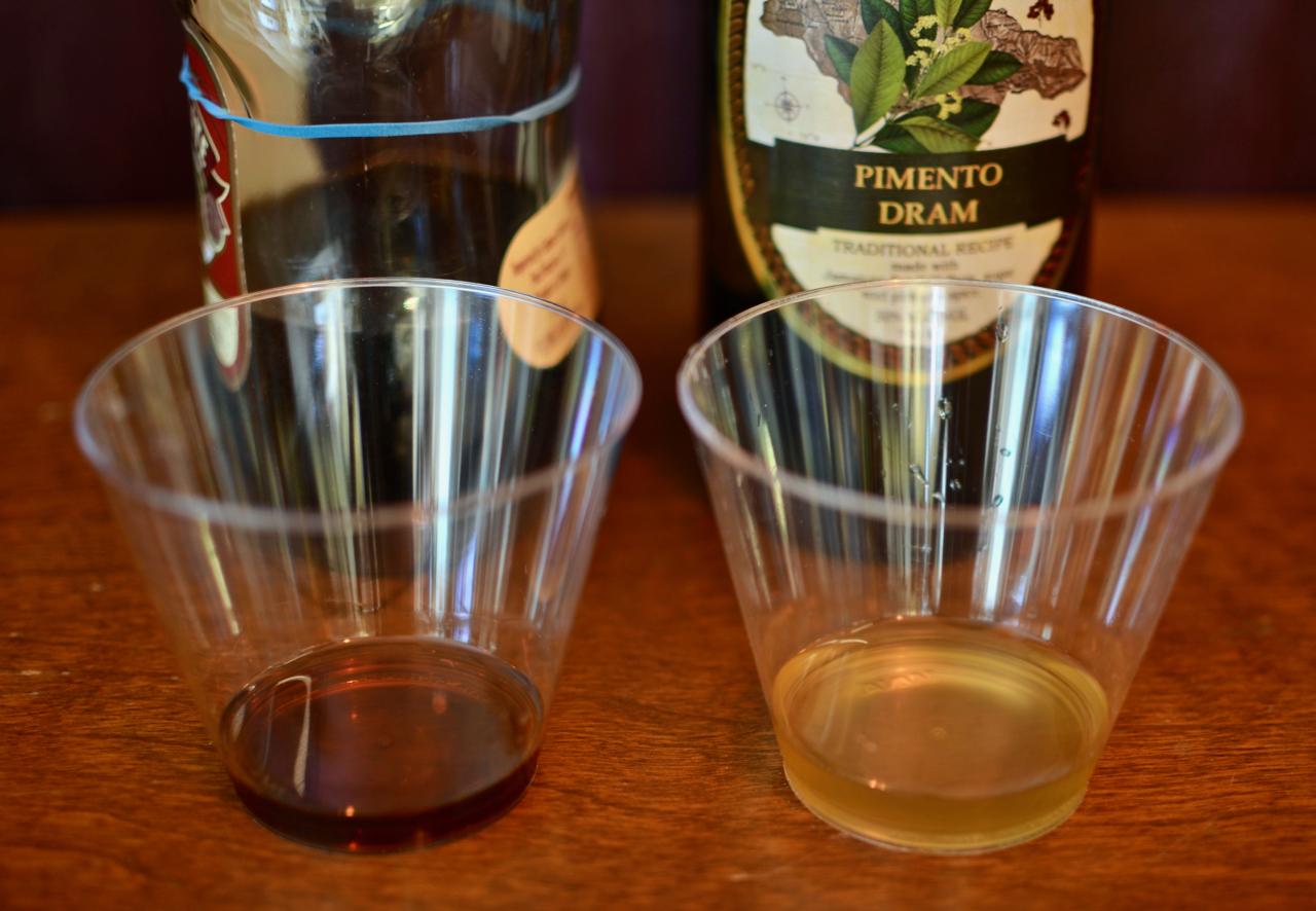Left: homemade pimento dram. Right: Hamilton Pimento Dram.