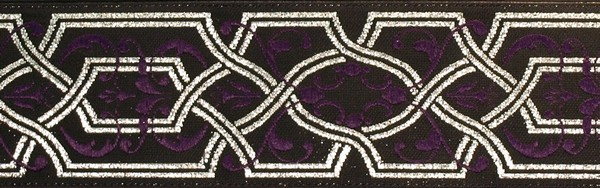 R229 1 1/2 Inch Silver and Purple Filigree