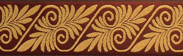 R173 1 1/2 Inch Burgundy and Tan Fern