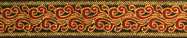 R130 1 Inch Gold and Red Swirl