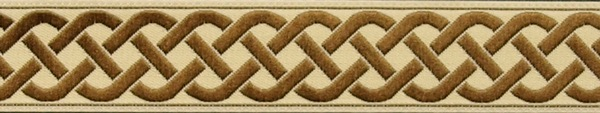 R154 3/4 Inch Tan and Ivory Celtic Knot