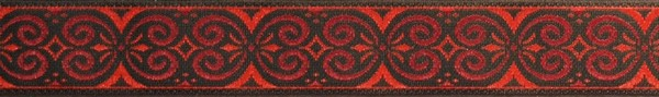 R239 5/8 Inch Red and Black Scroll