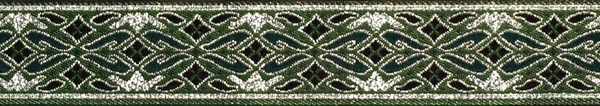 R242 7/8 Inch Silver and Green Diamonds