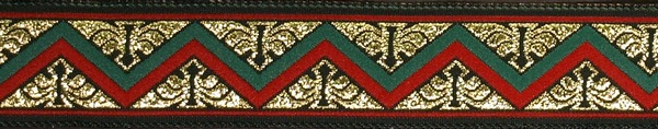 R243 7/8 Inch Gold Red and Green Zig Zag