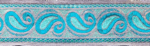 R338 1 1/2 Inch Gold and Teal Paisley