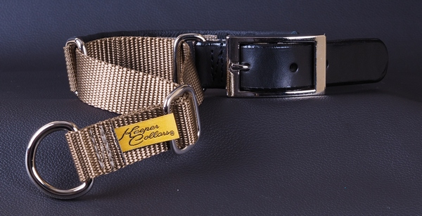 This is our Keeper Hidden Prong Collar with the Leather Buckle option. This option replaces the snap buckle with a more traditional leather and metal buckle while retaining the Keeper Collar tug. This is an additional cost option that you can select from the  Option  page.