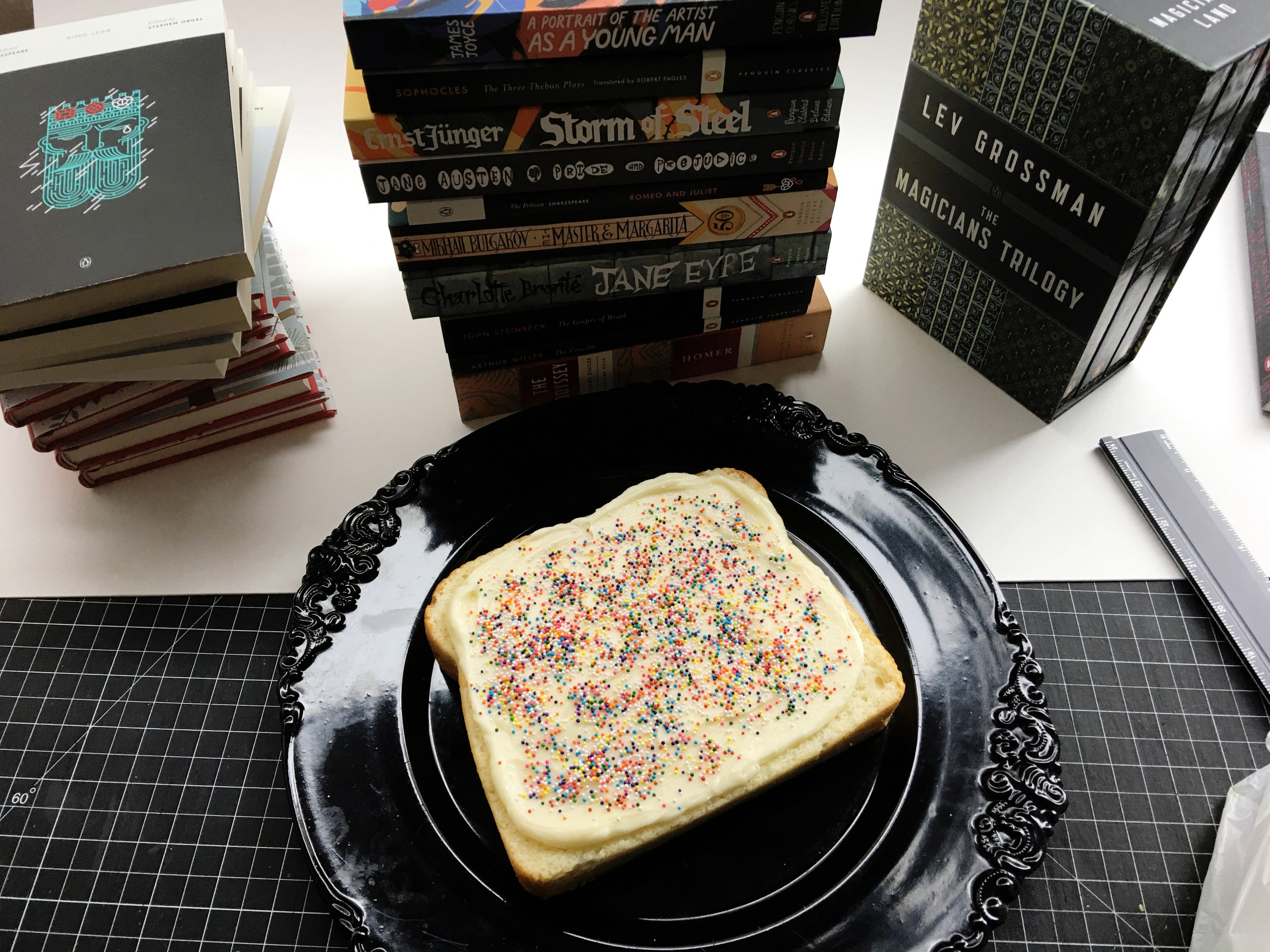 The finished cake is about the size of a trade paperback book (show here to scale on a co-worker's desk).