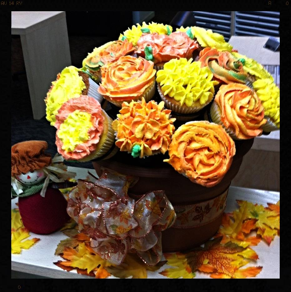 The girls in Tex's office in Citrus Heights made this beautiful fall display! Thank you!!! It's gorgeous.