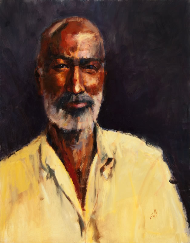 "Man in Yellow Shirt -  24"" x 30"", oil on canvas"