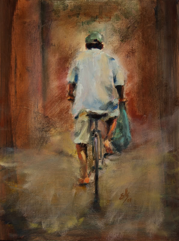 "Man on Bike  - 10"" x 16"", oil on canvas"