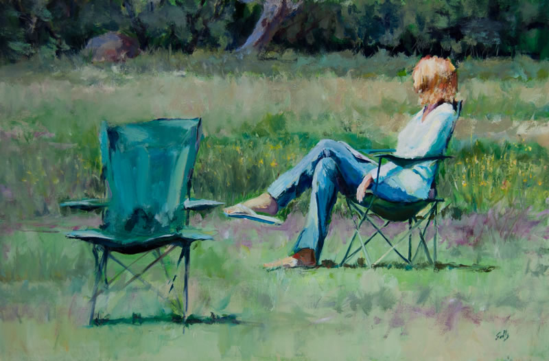"At the Park  - 36"" x 24"", Oil on canvas,"