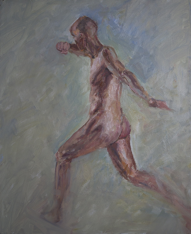 """Man Fighting  - 12"""" x 16"""", oil on Arches oil paper"""