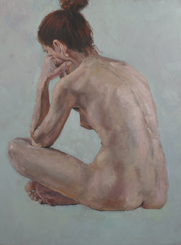 """Woman Sitting  - 18"""" x 24"""", oil on canvas"""