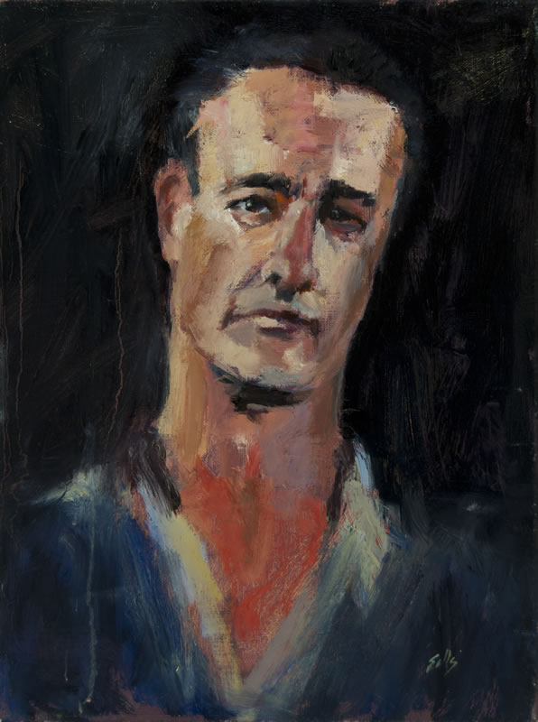 "Man in Blue Shirt - 12"" x 16"", oil on panel"