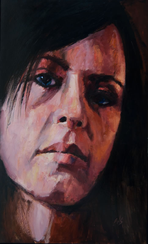 """Girl with Blue Eyes  - 36"""" x 60"""", oil on panel"""