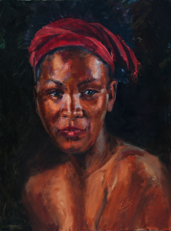 """Red Scarf  - 30"""" x 40"""", oil on canvas"""