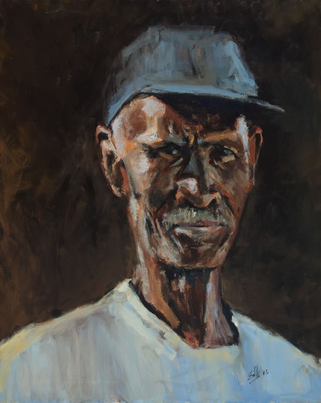 "Man in Blue Cap - 24"" x 30"", oil on canvas"