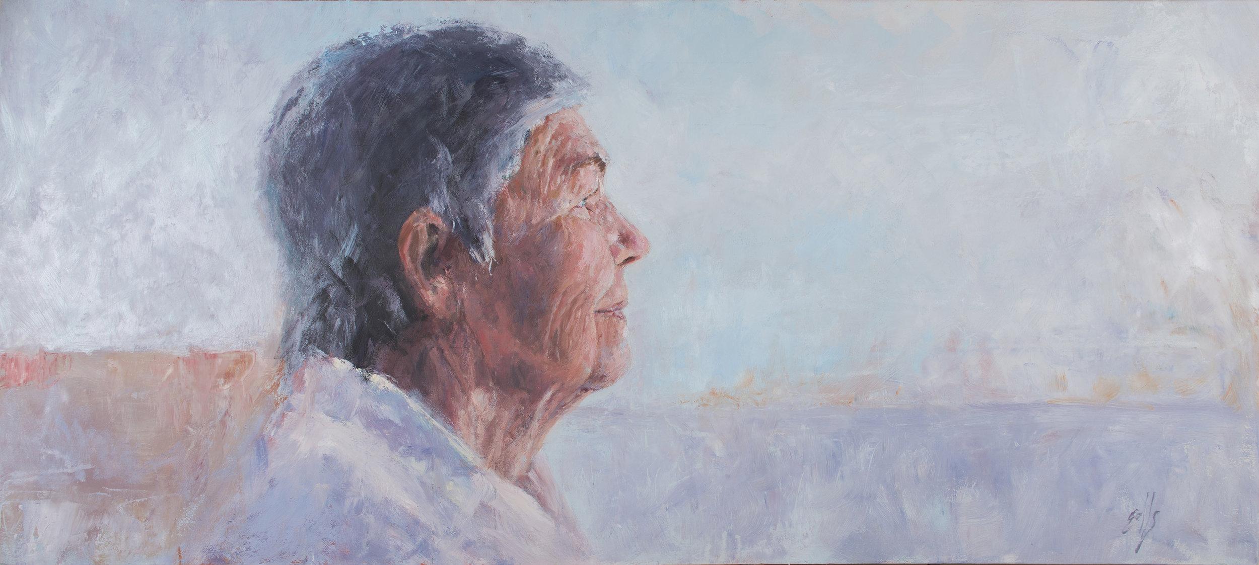 """St. Helen of Ojai  - 40"""" x 18"""", oil on birch"""