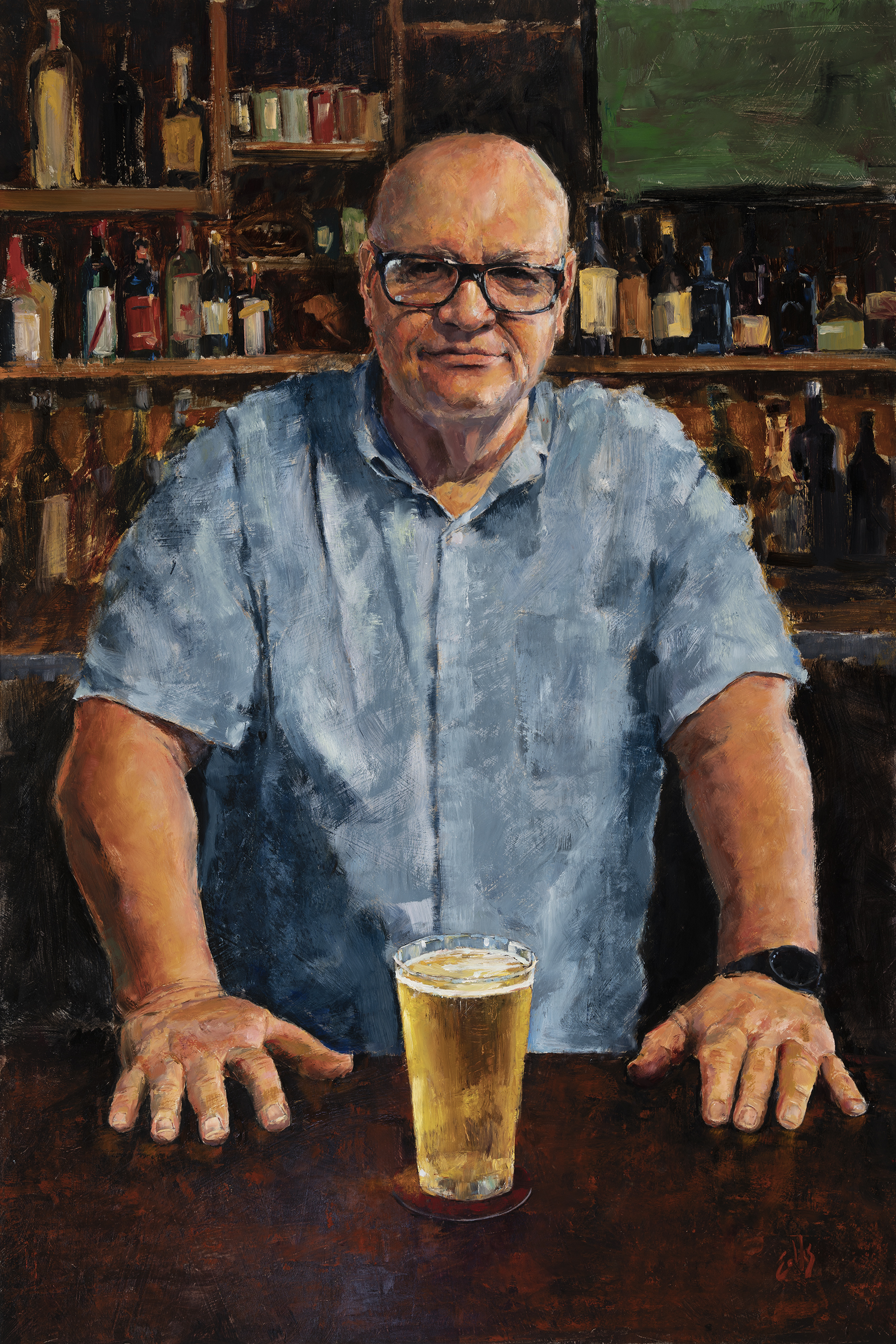 """""""The Barkeep - Portrait of Michael McCarthy""""  36"""" x 24"""" - Oil on panel  2018 Portrait Society of America Members Competition Third Place"""