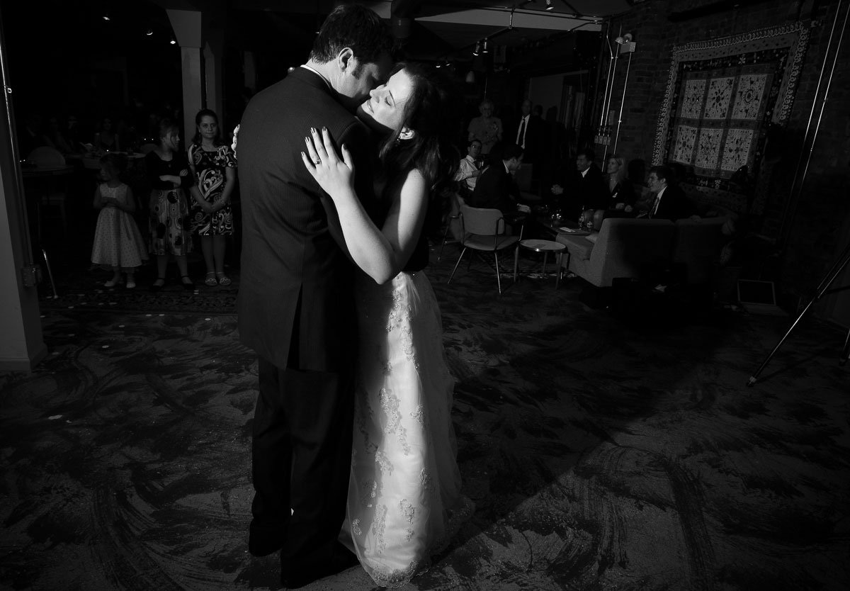 Couple's first dance during their Catalyst Ranch wedding reception.