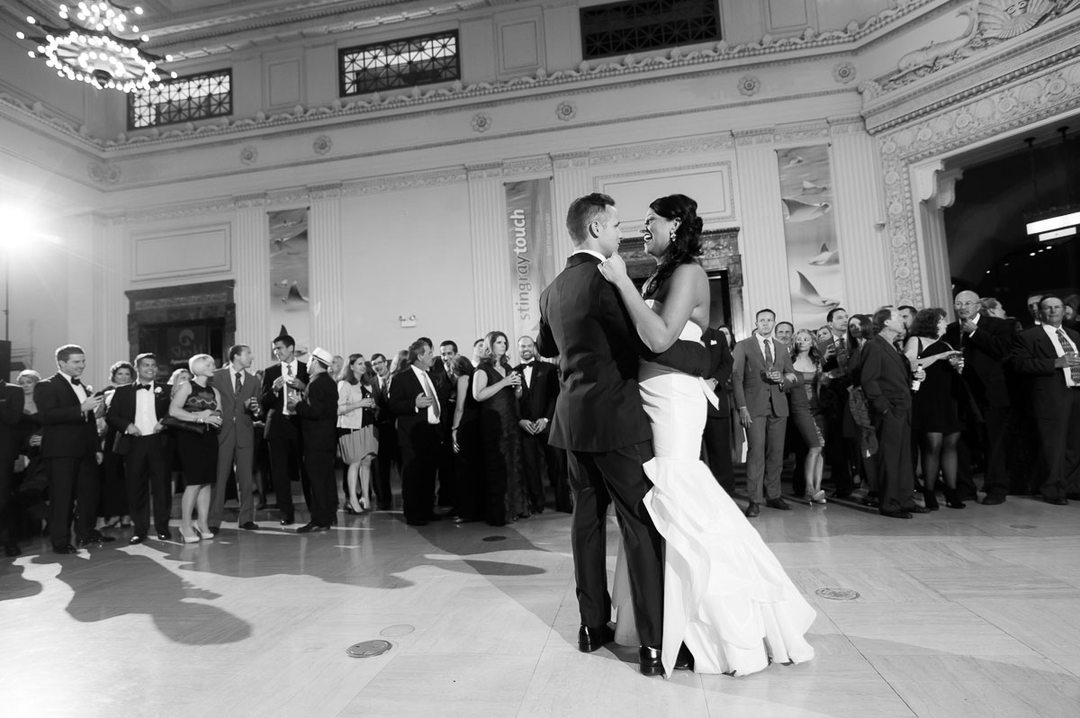 Bride & groom's first dance during their Shedd Aquarium wedding.
