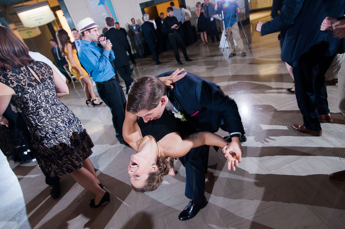 Guests dance the night away at a Shedd Aquarium wedding.