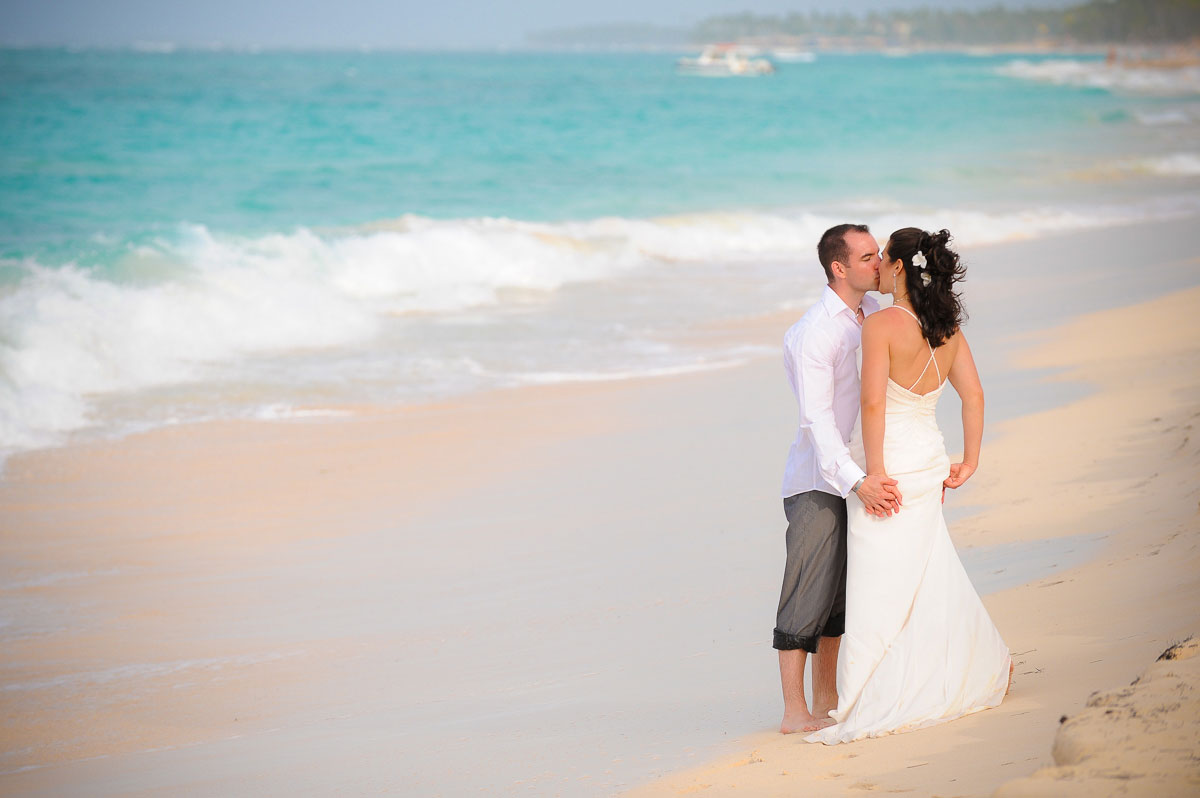 The couple shares a moment together after their wedding at the Majestic Colonial Resort, Punta Cana, Dominican Republic.