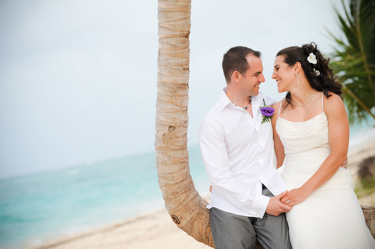 Portrait of bride & groom during their destination wedding in Punta Cana, Dominican Republic.
