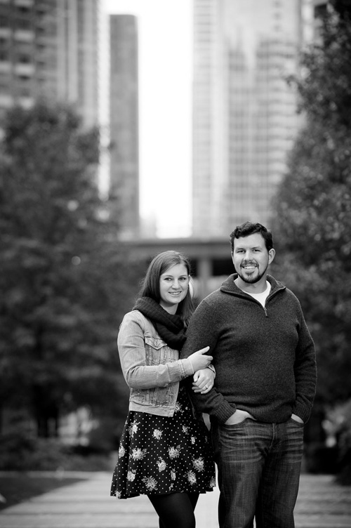 Chicago engagement session with fall colors at Lakeshore East Park.