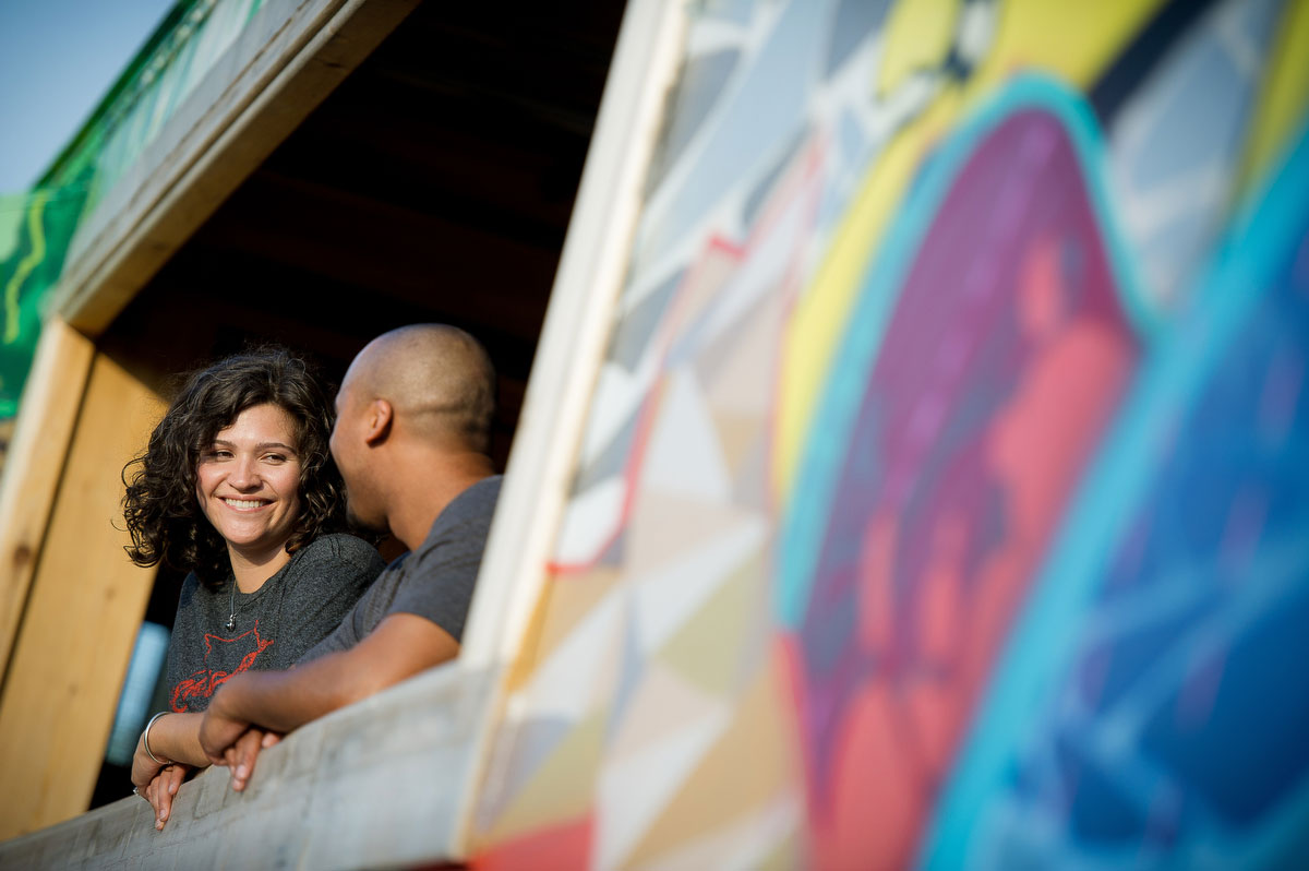 Chicago engagement session outside the Lacuna Artist Lofts in Pilsen.