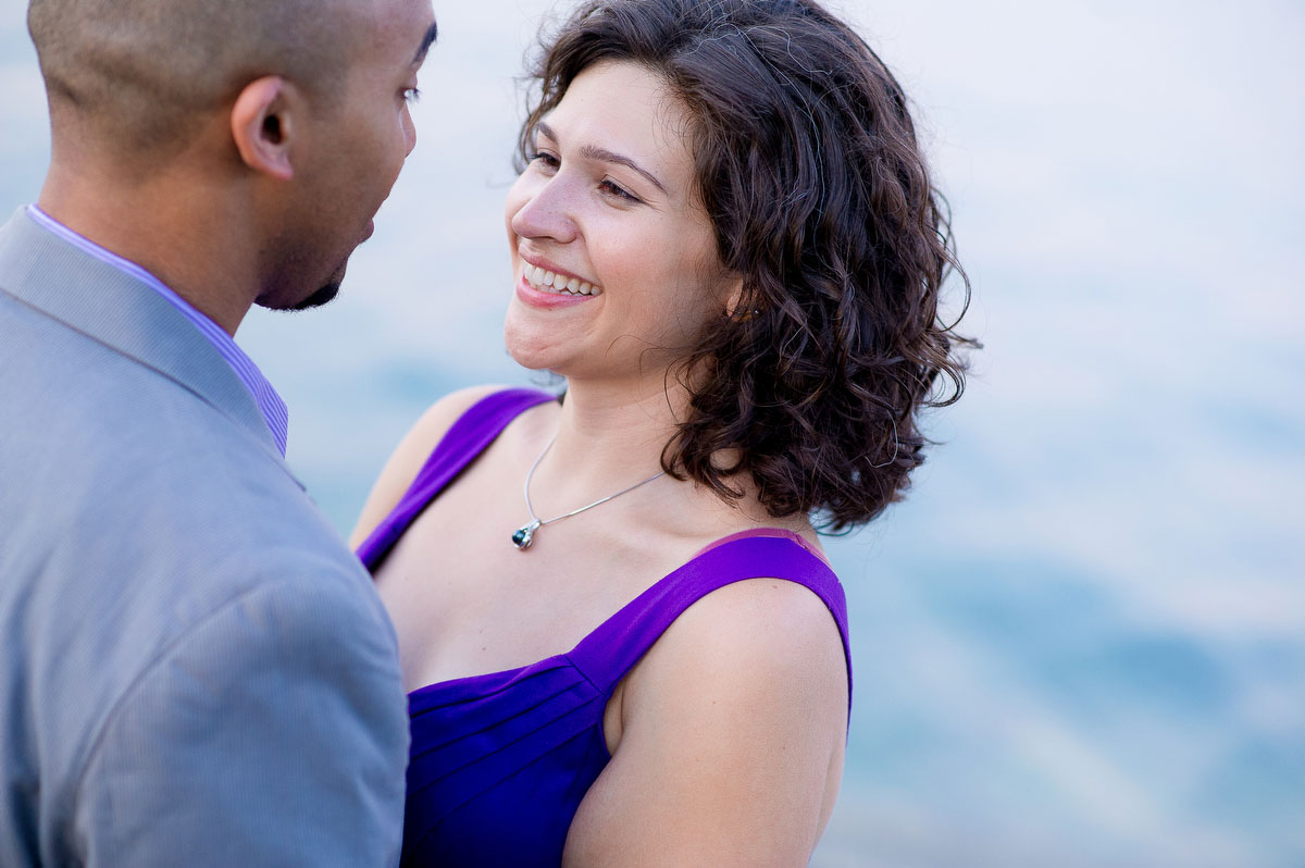 Sunset engagement session near Promontory Point in Chicago.