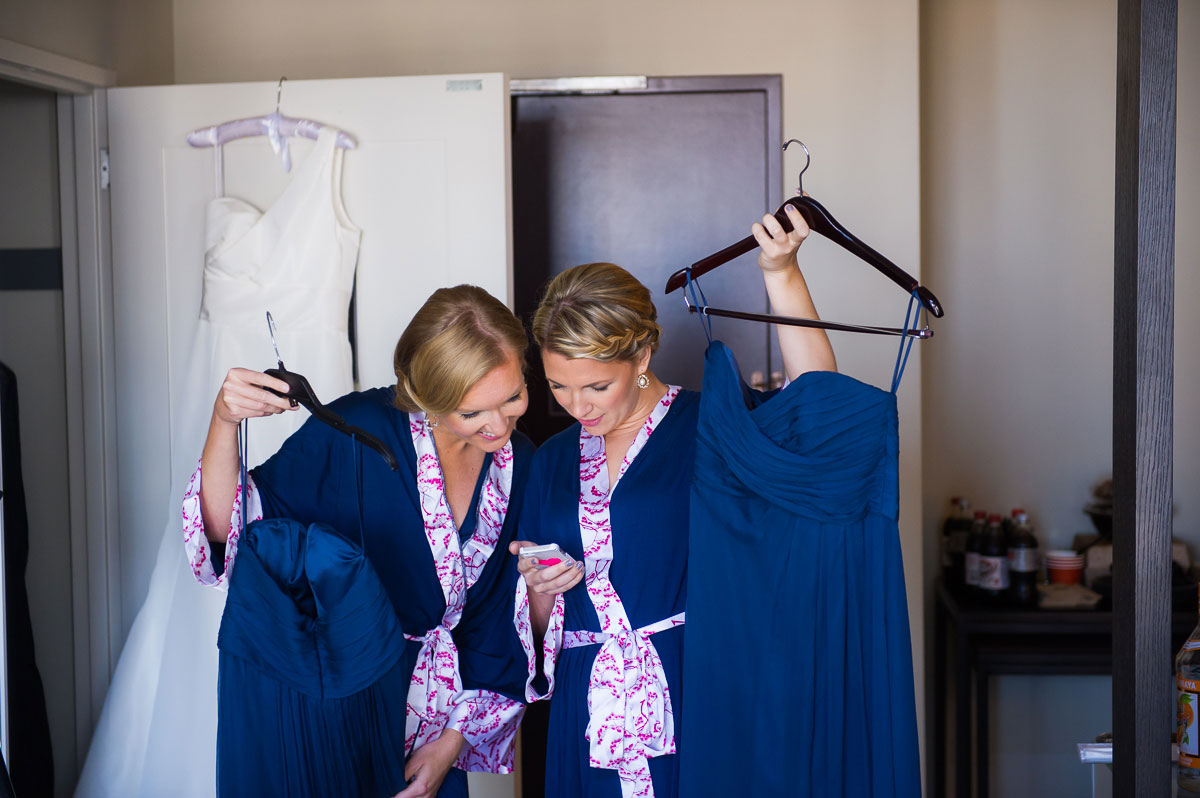 Bridesmaids with their dresses at the Thompson Chicago Hotel.