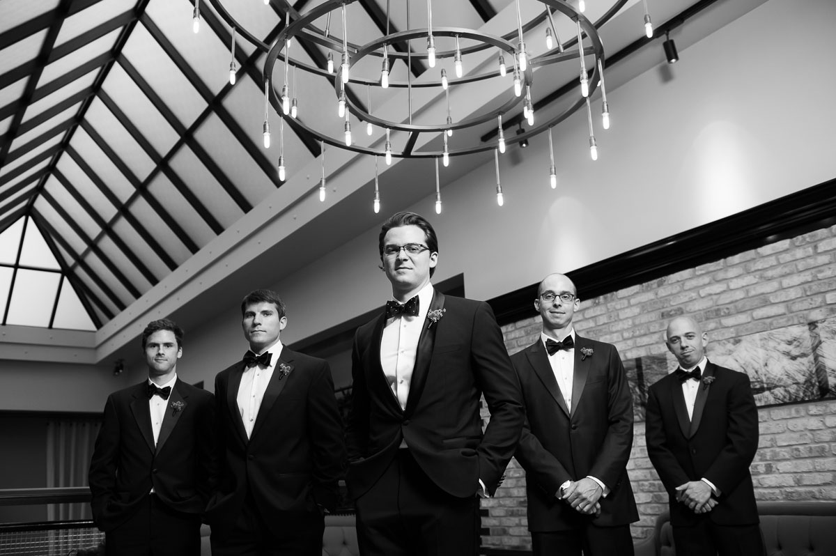 Creative groomsmen portrait at the Thompson Chicago Hotel.