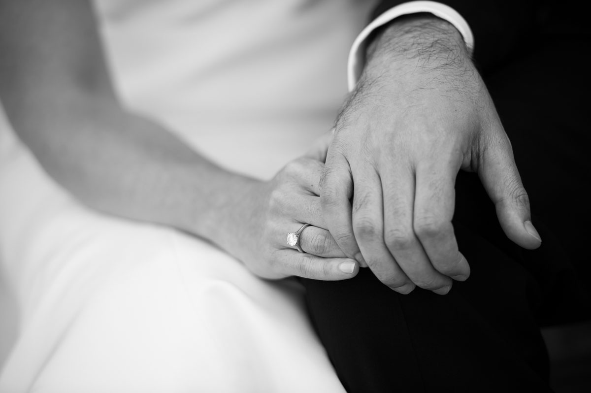 Detail photo of the engagement ring during a Chicago History Museum wedding.