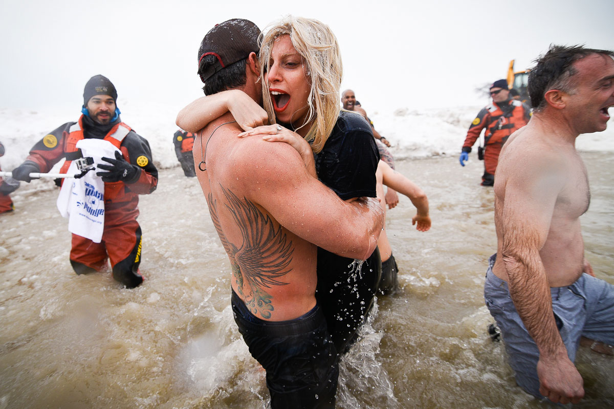 Lady Gaga and fiance Taylor Kinney during the   2015 Special Olympics Polar Plunge at North Avenue Beach Chicago.
