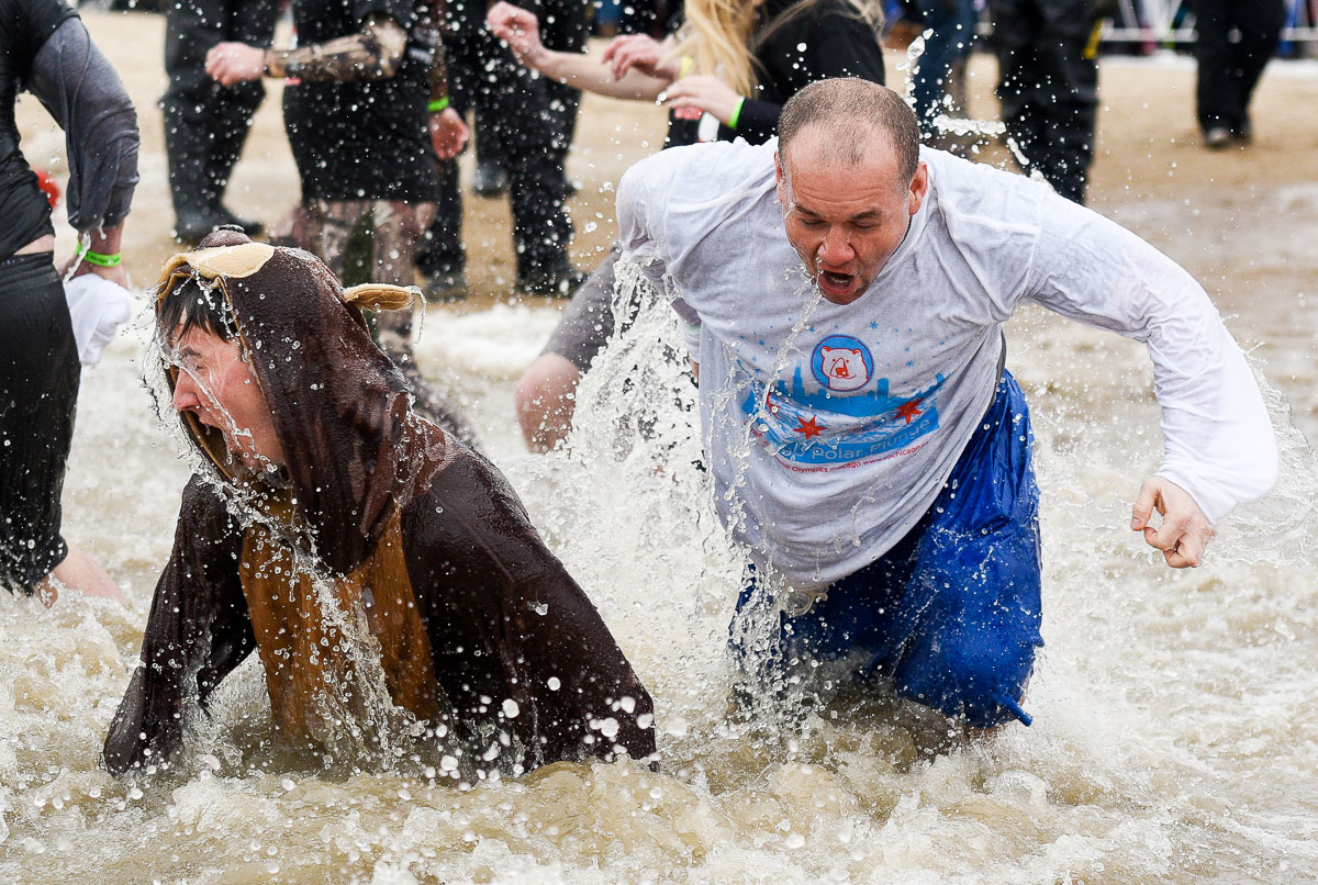 2015 Special Olympics Polar Plunge at North Avenue Beach Chicago.
